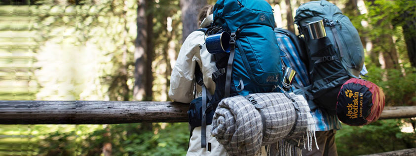 camping fall winter bag together