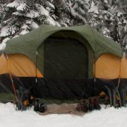 snow tent camping night