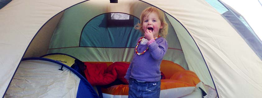 camping baby kids together