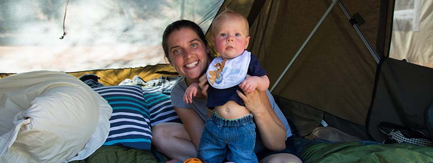 tent baby mother camping